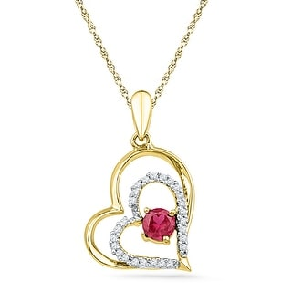 Twin Heart Pendant 10K Yellow-gold With Pink CZ and Diamonds 0.125 Ctw By MidwestJewellery - White