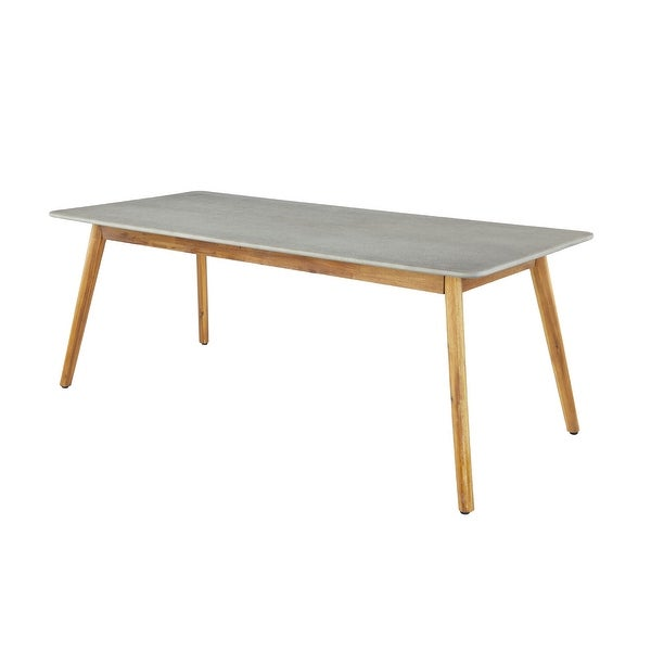 "Large Rectangular Concrete Outdoor Dining Table w Wooden Mid-Century Legs 78.5"" x 30"" - 79 x 36 x 30. Opens flyout."