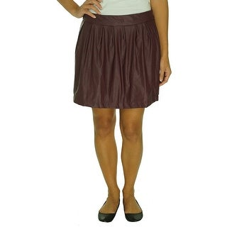 Stoosh Juniors Pleated Faux Leather Mini Skirt - XL