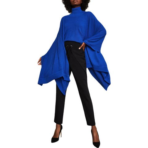 BCBG Max Azria Womens Poncho Sweater Wool Blend Asymmetric - O/S