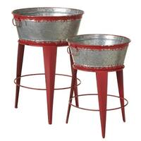 """Set of 2 Distressed Red Decorative Round Bucket Plant Stands with Handles 27.25"""" - N/A"""