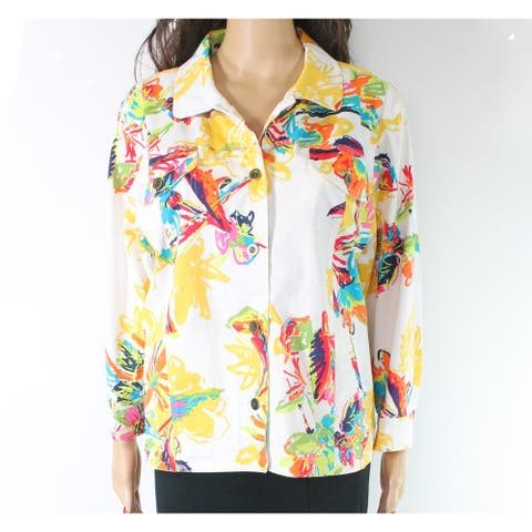 Multiples Women's Jacket Yellow Size XL Button Front Abstract Floral