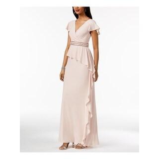 ADRIANNA PAPELL Womens Pink Short Sleeve Maxi Evening Dress  Size 2