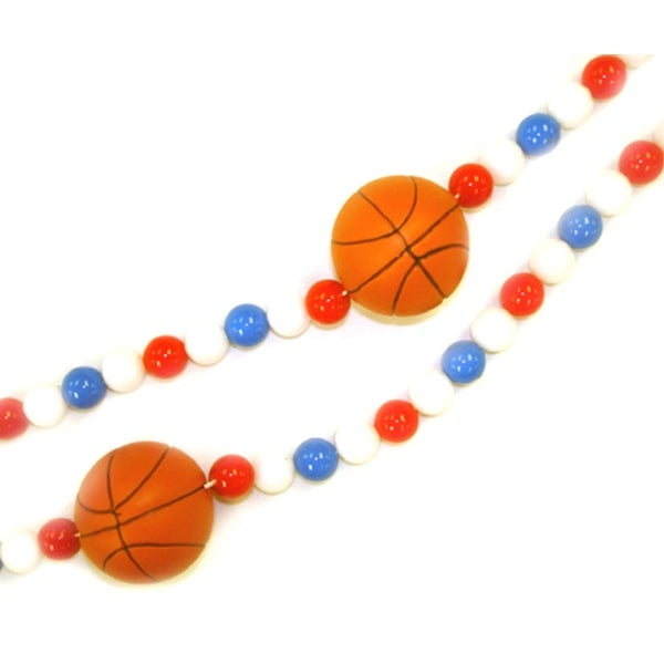 6' Red, White And Blue Beaded Basketball Christmas Garland - multi