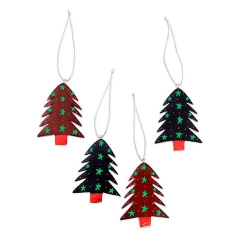 NOVICA Handmade Starlit Tree Mahogany wood ornaments (set of 4)