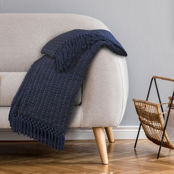 Navy and Off-White Throw Blanket. Opens flyout.