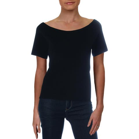 Elie Tahari Womens Starling Pullover Sweater Knit Scoop Neck - Black - L