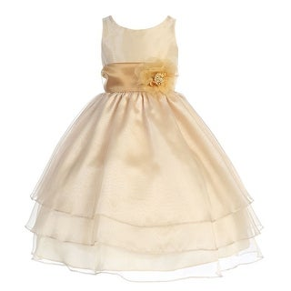 Girls Champagne Floral Sash Junior Bridesmaid Dress 8-12