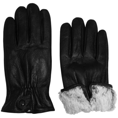 NICE CAPS Womens Genuine Leather Gloves With Plush Lining And Snap On Cuff - Black