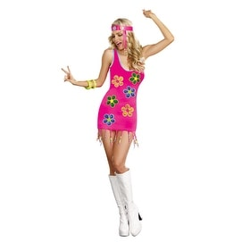 Womens Groovy 60's Flower Halloween Costume