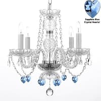 Authentic All Crystal Chandelier Lighting With Sapphire Blue Crystal Hearts