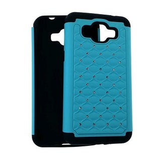 Cell Armor Hybrid 2 in 1 Case for Samsung 530 - Rhinestone on Blue Snap & Black