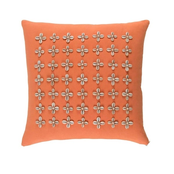 "18"" Pin Cushion Marigold Orange and Beige Woven Decorative Throw Pillow-Down Filler"