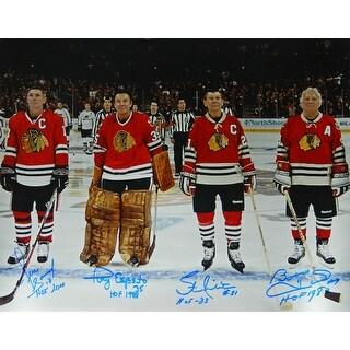 Hull, Esposito, Mikita & Savard Signed Blackhawks Legends On Ice 16x20 Photo wHOF Years