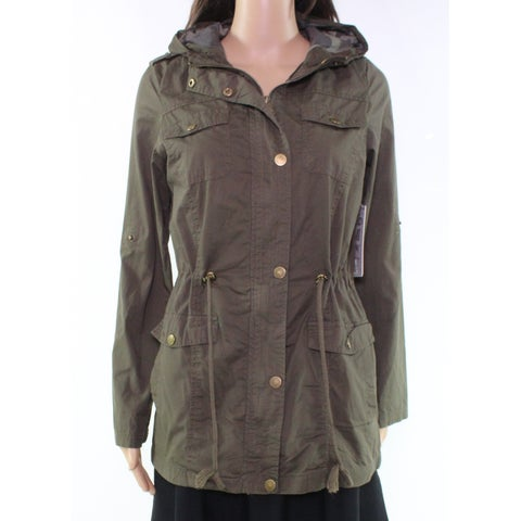 YMI Green Women's Size Medium M Hooded Drawstring Military Jacket