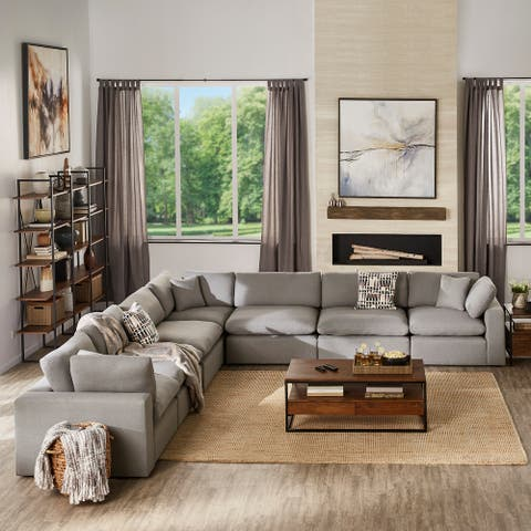 Anka Grey Linen Down Filled Cushioned 7-Seat Sectional Sofa by iNSPIRE Q Modern