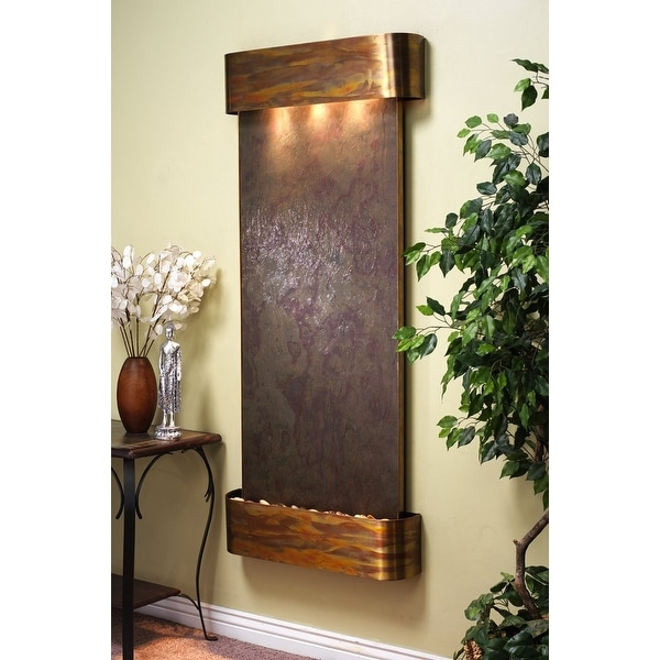 Adagio Inspiration Falls Fountain w/ Rajah Featherstone in Rustic Copper Finish