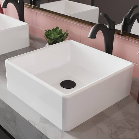 Kraus 3-in-1 Set White Square Ceramic Vessel Sink Arlo Faucet w/ Drain