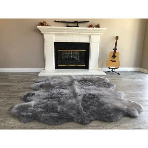 "Dynasty Natural 8-Pelt Luxury Long Wool Sheepskin Grey Shag Rug - 5'5"" x 6'8"""