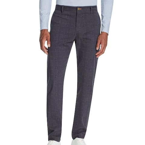 Tallia Mens Chino Pants Gray Size 40 Straight Stretch Houndstooth Plaid