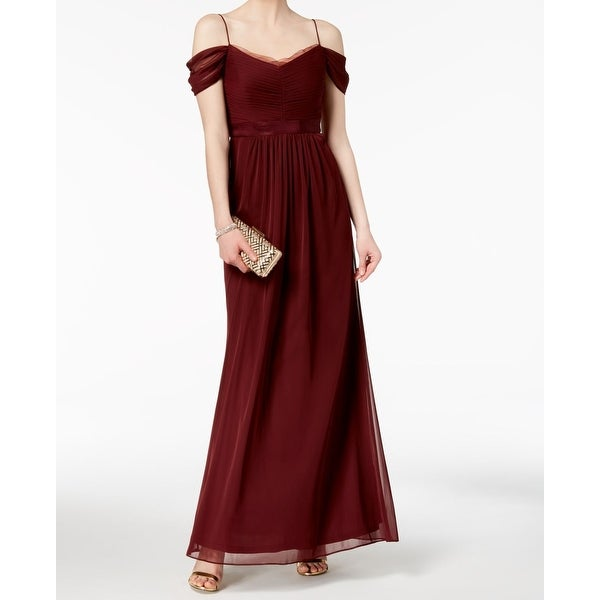 d9a2c5e6a184 Shop Adrianna Papell Red Wine Chiffon Off-Shoulder Womens 14 Gown ...