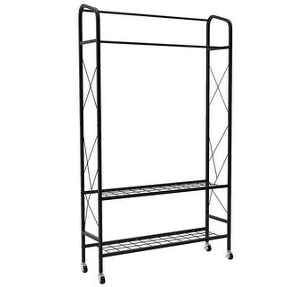 LANGRIA Heavy Duty Double Rail Garment Rack with Rolling Wheels