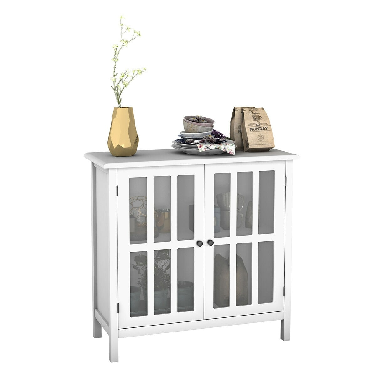 Dining Room Buffet Side Board Table Storage Cabinet Elegant Sliding Door Pantry