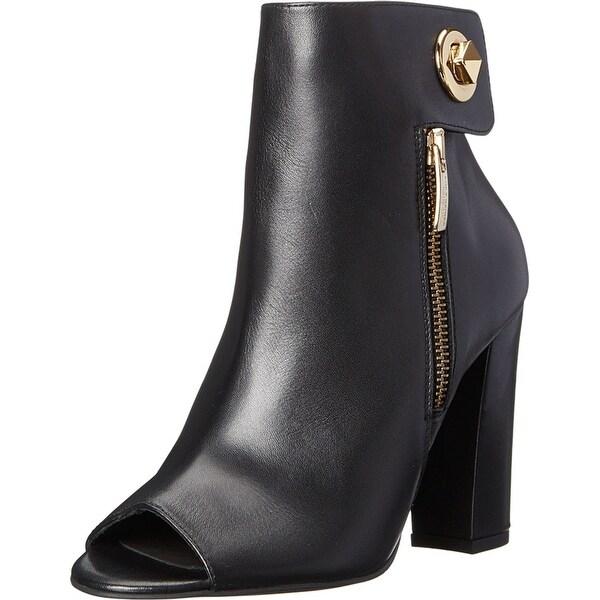 Kurt Geiger NEW Black Shoes 10M Open Toe Leather Bootie Heels
