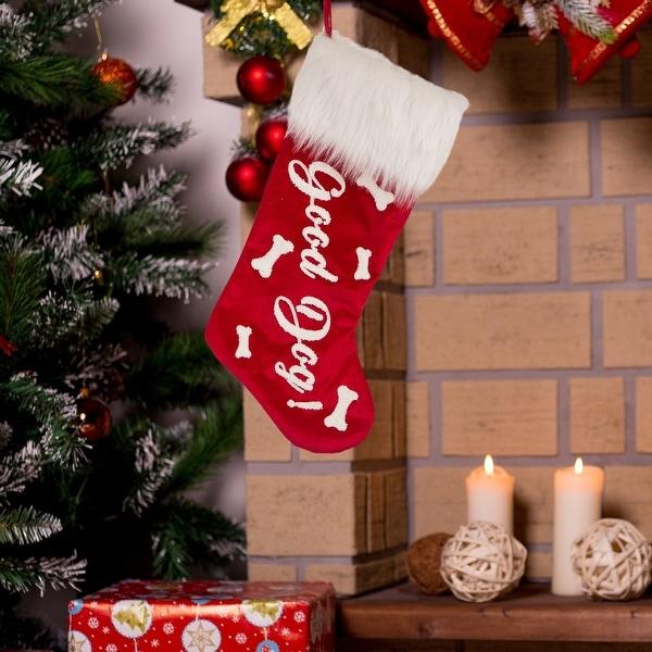 "Glitzhome 21""L Plush Christmas Stocking. Opens flyout."