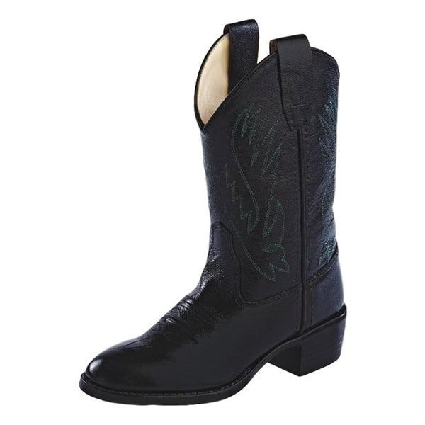 4ab06beb3b Shop Old West Cowboy Boots Boys Girls Kids Corona Leather Round Black -  Free Shipping Today - Overstock - 15382374