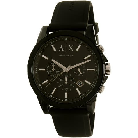 Armani Exchange Men's Black Silicone Japanese Quartz Dress Watch