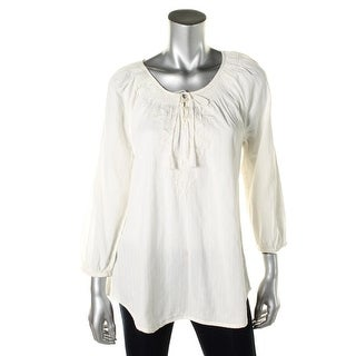 LRL Lauren Jeans Co. Womens Peasant Top Embroidered Boho - l