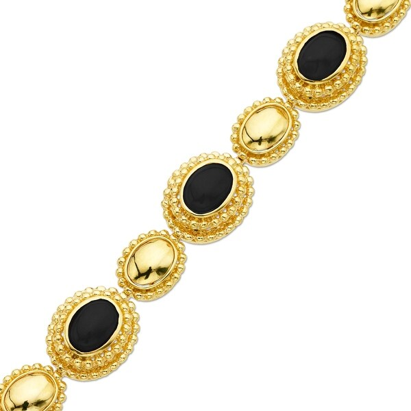 5 1/8 ct Natural Onyx Bracelet in 14K Gold - Black