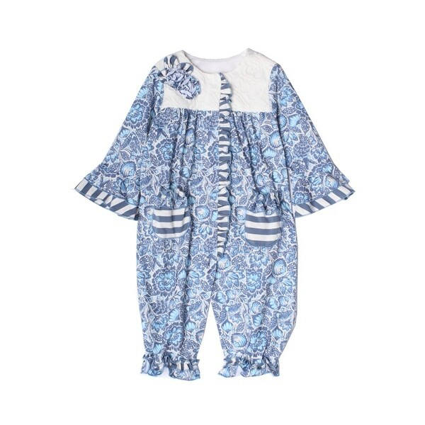 Isobella & Chloe Baby Girls Bonnie Blue Pocket Ruffle Flower 2 Pcs Outfit