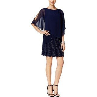 Xscape Womens Petites Cocktail Dress Embellished Blouson