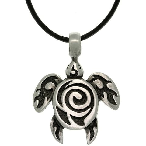 Pewter Unisex Spiral Sea Turtle Black Leather Cord Necklace
