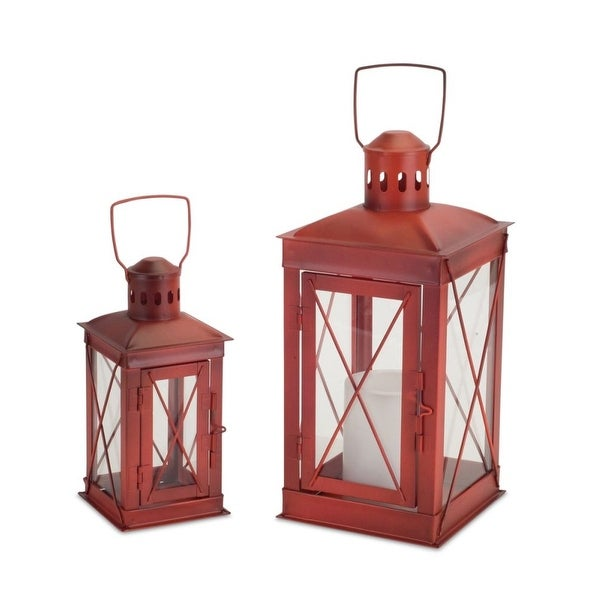 """Pack of 2 Weathered Red Candle Lanterns with Carrying Handles 12"""" - N/A"""