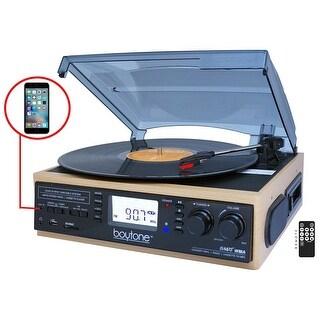 Boytone BT-19DJW-C 3-speed Turntable, 2 Built in Speakers Large Digital Display AM/FM, Cassette, USB/SD/AUX/MP3, Recorder & WMA