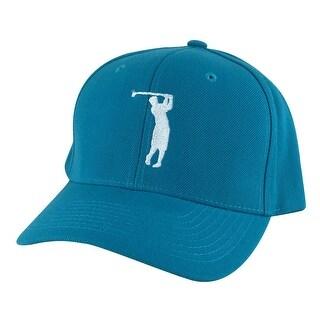 CapRobot Golfer Swing Mid Crown Curved Brim Adjustable Snapback Cap Hat - Aqua Teal White