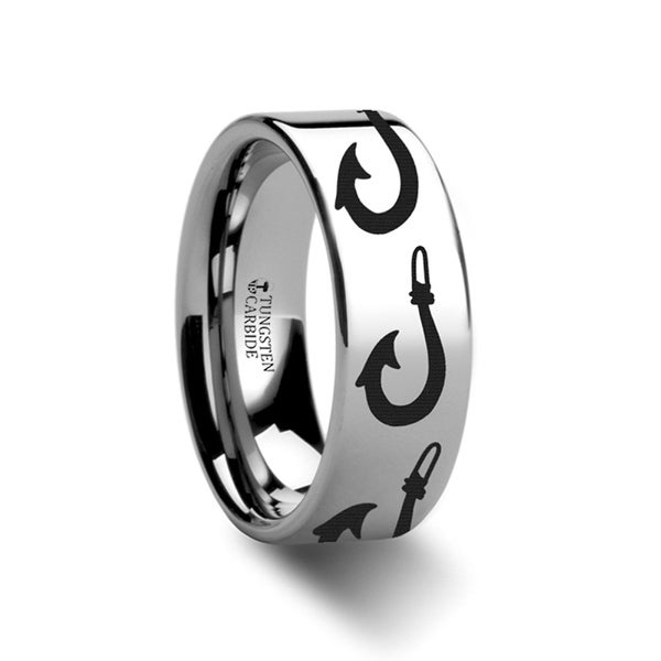 THORSTEN - Large Polynesian Fishing Hook Pattern Ring Engraved Flat Tungsten Ring - 10mm