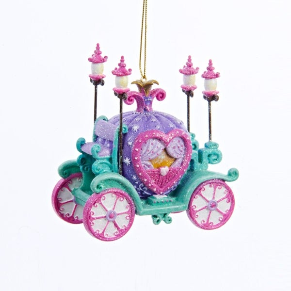 """3.5"""" Purple, Pink and Green Glitter Embellished Princess Carriage Christmas Ornament"""