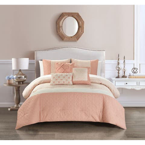 Chic Home Ima 10 Piece Jacquard Quilted Details Comforter Set, Blush
