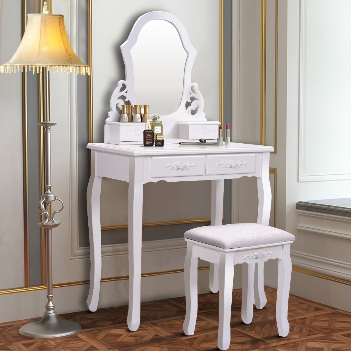 Costway White Vanity Jewelry Wooden Makeup Dressing Table Set Bathroom W Stool Mirror 4 Drawer