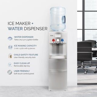 Water Cooler Dispenser With Ice Maker Hot And Cold Top Loading 2 In 1 Silver