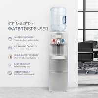 DELLA Silver Hot Cold Water Dispenser Child Safety Lock Top Loading Counter Top Cooler Push Button Ice Maker Office Home