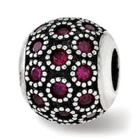 Sterling Silver Reflections Red Corundum Antiqued Bead (4.5mm Diameter Hole)