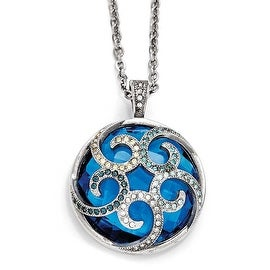 Chisel Stainless Steel Polished Blue Glass and Crystal Reversible Necklace (1 mm) - 18 in