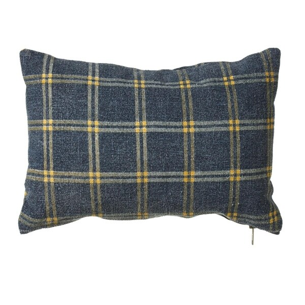Set of 2 Blue and Yellow Plaid Patterned Rectangular Throw Pillows 24""