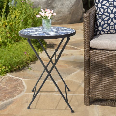Lori Blue and White Mosaic Folding Side Table