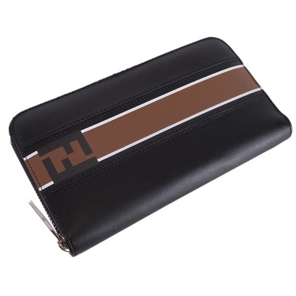 72ef2d26 Shop Fendi Men's Black Leather FOREVER Zip Around FF Continental ...
